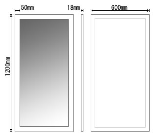 ビッグ,フラット,フレーム,ウォール,ミラー,600×1200mm,鏡,壁掛け鏡,送料,無料